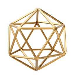 "Better Homes & Gardens 5""W x 6""H Icosahedron Iron Geometric Tabletop Sculpture, Medium, Gold, 1 P... | Walmart (US)"