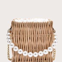 Faux Pearl Handle Rattan Woven Bucket Bag   SHEIN