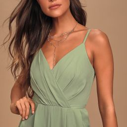Call For Me Sage Green Faux Wrap Jumpsuit | Lulus (US)