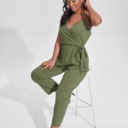 Plus Surplice Front Tie Side Cami Jumpsuit | SHEIN
