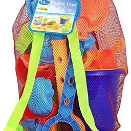 Click N Play 18Piece Beach Sand Toy Set, Bucket, Shovels, Rakes, Watering Can, Molds   Amazon (US)