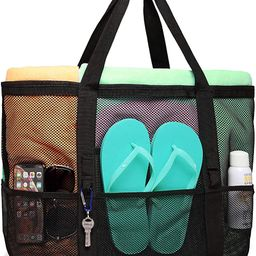 Beach Bag, F-color Mesh Beach Bag Oversized Beach Tote 9 Pockets Beach Toy Bag   Amazon (US)