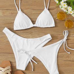 3pack Triangle Tie Side Thong Bikini Swimsuit   SHEIN