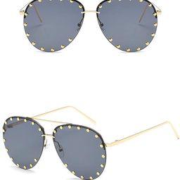 Chezi Unisex Rimless Cut-out Rivet Studded Lens Aviator Sunglasses   Amazon (US)