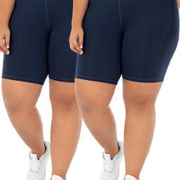 Athletic Works Womens Plus Size Core Active Dri-Works Bike Short, 2-Pack | Walmart (US)