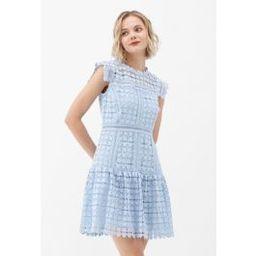 Full of Heart Crochet Sleeveless Dress in Blue | Chicwish