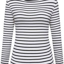 Women's Long Sleeve Striped T-Shirt Tee Shirt Tops Slim Fit Blouses | Amazon (US)