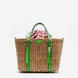Small Woven Basket Tote Green Croc | Frances Valentine