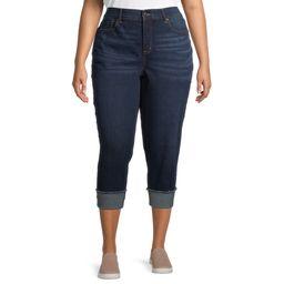 Terra & Sky Plus Size Skinny Denim Capri Jeans With Roll Cuff | Walmart (US)
