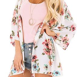 AMEBELLE Women's Boho 3/4 Sleeve Floral Cardigans Hi Low Beach Chiffon Cover Up Capes | Amazon (US)