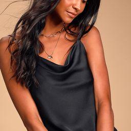 Emmerson Black Satin Sleeveless Cowl Neck Bodysuit   Lulus (US)