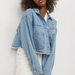 Crop jacket in cotton twill. Collar, yoke, and buttons at front. Large patch front pockets, long ... | H&M (US)
