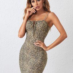 SHEIN Tie Front Leopard Bodycon Dress | SHEIN