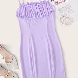 SHEIN Frill Detail Ruched Bust Dress | SHEIN