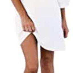 BELONGSCI Women's Dress Sweet & Cute V-Neck Bell Sleeve Shift Dress Mini Dress | Amazon (US)
