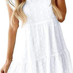 Ecrocoo Women's Mini Dress Casual High Neck Summer Beach Dress Loose Flowy Swing Shift Dresses Tu... | Amazon (US)
