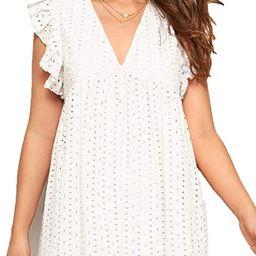 Romwe Women's Plain Short Sleeve Floral Summer Floral Lace Prom Party Shift Dress | Amazon (US)