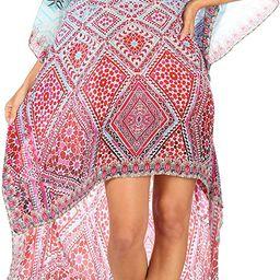 Sakkas Laisson Flowy Hi Low Caftan Rhinestone Boxy V Neck Dress Top Cover/Up   Amazon (US)