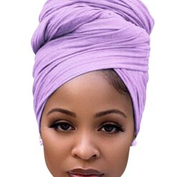 Hair Scarves for Women Cotton Long Stretch Jersey Hair Wrap for Ponytails at Night Light Purple | Amazon (US)