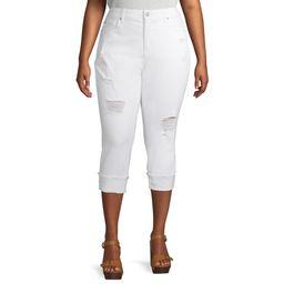 Terra & Sky Plus Size Skinny Denim Capri Jeans With Roll Cuff   Walmart (US)