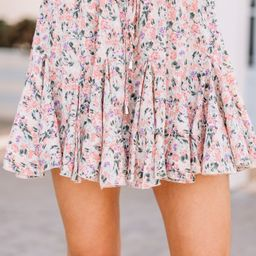 Feeling Connected Coral Pink Ditsy Floral Skort | The Mint Julep Boutique
