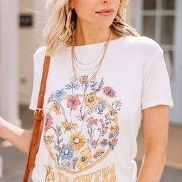 Pickin' Wildflowers Ivory White Graphic Tee | The Mint Julep Boutique