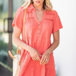 Hold Your Interest Coral Pink Striped Linen Dress | The Mint Julep Boutique