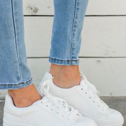 Moving Forward White Sneakers | The Mint Julep Boutique