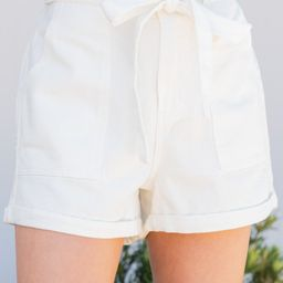 Look Into It Off White Paperbag Shorts | The Mint Julep Boutique