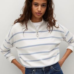 Striped sweater with zipper | MANGO (US)