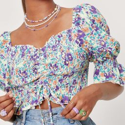 Floral Ruched Crop Blouse | NastyGal