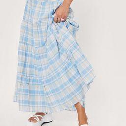Check Print Tiered High Waisted Maxi Skirt | NastyGal