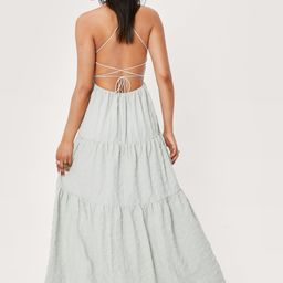 Textured Strappy Back Tiered Maxi Dress | NastyGal