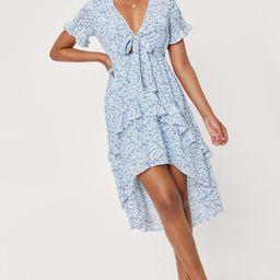 Floral Print V Neck Ruffle Midi Dress | NastyGal