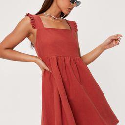 Frill Shoulder Linen Mini Dress | NastyGal