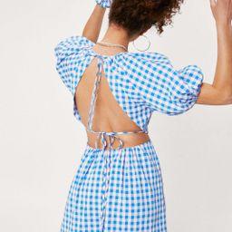 Gingham Puff Sleeve Mini Dress and Scrunchie | NastyGal