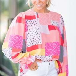 Do Your Best Pink Abstract Patchwork Blouse | The Mint Julep Boutique