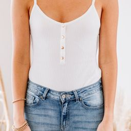The Show Must Go On White Henley Bodysuit | The Mint Julep Boutique