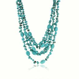 """20"""" 3 Strands  Green Simulated Turquoise  Necklace with Toggle Clasp20 Inch 