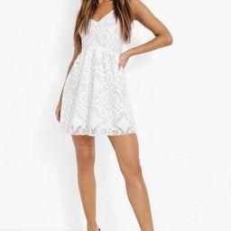 All Over Lace Ruffle Skater Dress | Boohoo.com (US & CA)