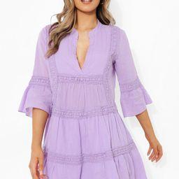 Crochet Trim Smock Dress | Boohoo.com (US & CA)