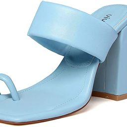vivianly Women Toe Ring Block Heels Sandals Open Toe Heel Mules Slip on Backless Dress Shoes | Amazon (US)