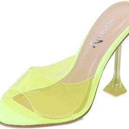 vivianly Womens Clear Heels Sandals Transparent Peep Toe Mules Backless Stiletto High Heels Slip ...   Amazon (US)