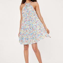 Petite High Neck Floral Print Smock Mini Dress   NastyGal