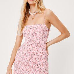 Square Neck Floral Print Mini Dress   NastyGal