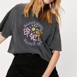 Happy Mind Happy Life Oversized Graphic T-Shirt   NastyGal