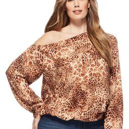 Sofia Jeans by Sofia Vergara Plus Size Long Sleeve One Shoulder Animal Print Top | Walmart (US)