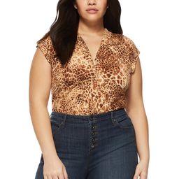 Sofia Jeans by Sofia Vergara Plus Size Animal Print Cap Sleeve Twist Front Bodysuit | Walmart (US)