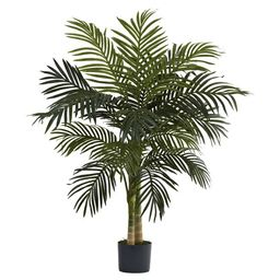 Nearly Natural 4ft. Golden Cane Palm Tree, Green | Walmart (US)