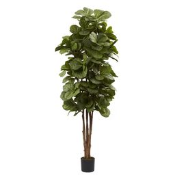Nearly Natural 6ft. Fiddle Leaf Fig Artificial Tree, Green | Walmart (US)